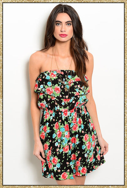 Black multi-colored floral strapless dress with a bow tie on the back