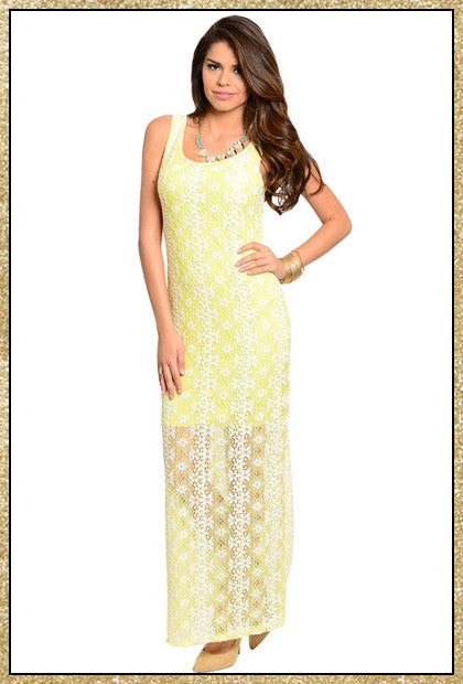 Sleeveless yellow and white lace daisy floral design maxi dress