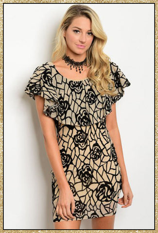 black and tan short floral print dress with ruffle design around neckline