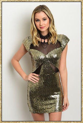 Gold sequin short bodycon dress with black mesh details and capped sleeves
