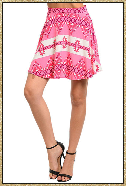 Pink and white aztec print short skirt
