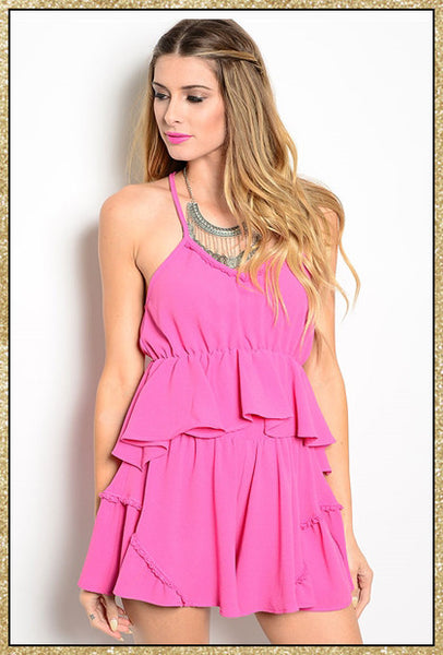 Pink 2-piece set spaghetti strap ruffle top with matching shorts