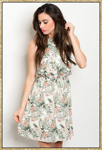 Tropical peach, green and white print short dress with criss-cross tie in the back
