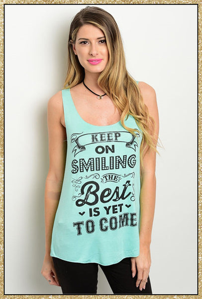 "Mint ""Keep on smiling"" quote tank top"