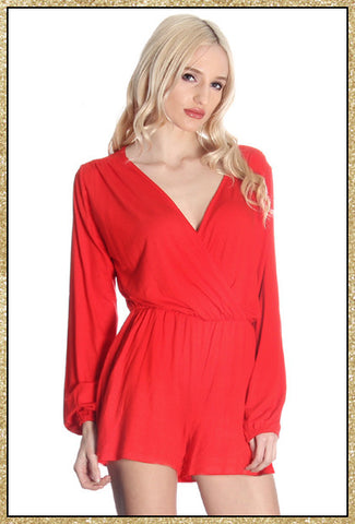 Long sleeve red v neck romper