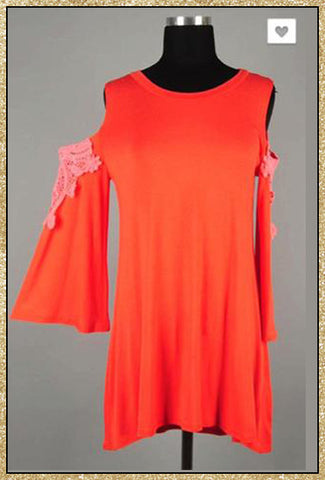 Red-orange cold shoulder belled sleeves tunic top dress with pink crocket details on arms