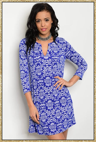 Royal blue and white 3/4 sleeve short dress