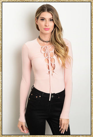 Long sleeve blush lace up front body suit