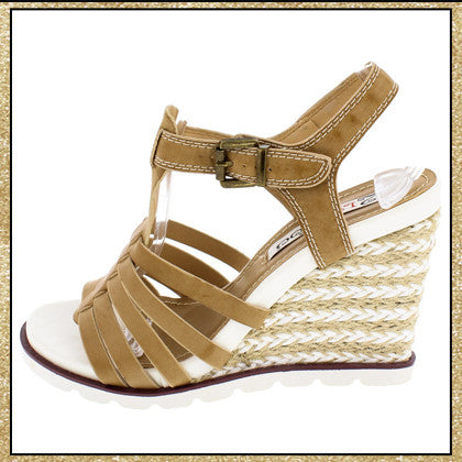 Neutral colored wedge heels with braided rope detail on the heel