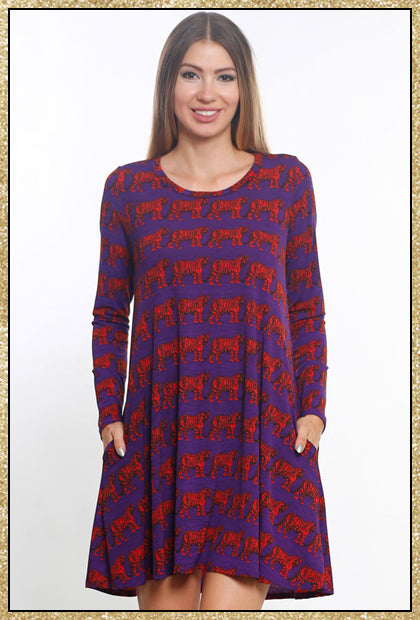 'Tiger Pride' Purple Orange Tiger Print Long Sleeve Dress