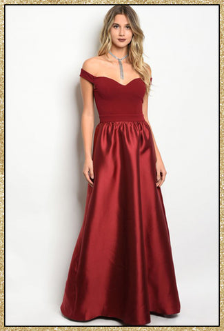 'Stroke Of Midnight' Wine Off Shoulder A-Line Formal Dress