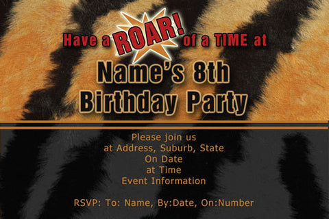 Tiger print birthday invitation,