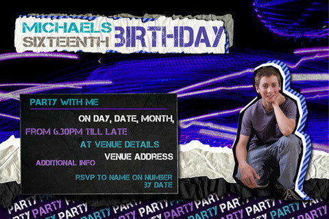 Purple and blue laser light birthday invitation with photo,