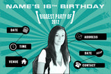 teal  birthday party invitation with photo