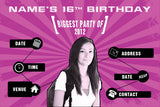 Pink birthday party invitation with photo