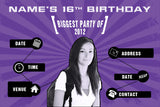 Purple birthday party invitation with photo
