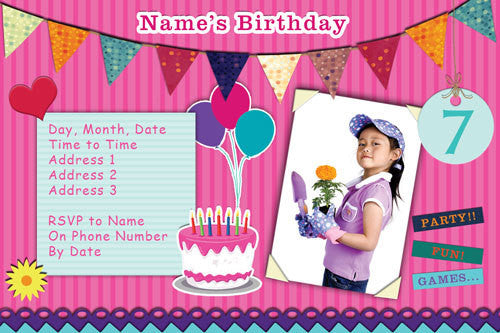 scrape book birthday invitation with photo,