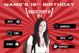 Red birthday party invitation with photo