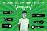 Green birthday party invitation with photo
