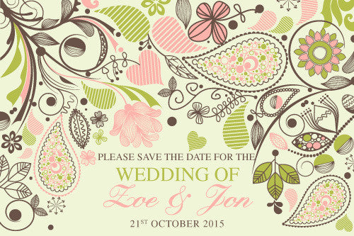 paisley floral wedding save the date card,