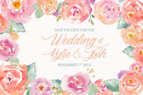 pink floral watercolor wedding save the date card,