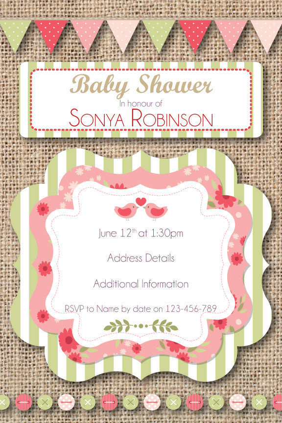 burlap baby girl shower invitation,