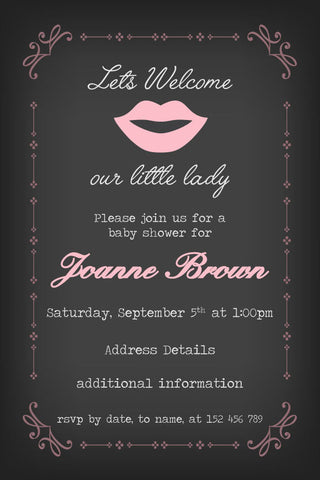 pink lips baby girl shower invitation,