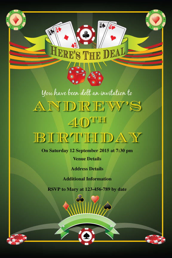 casino birthday invitation, poker birthday party invitation,