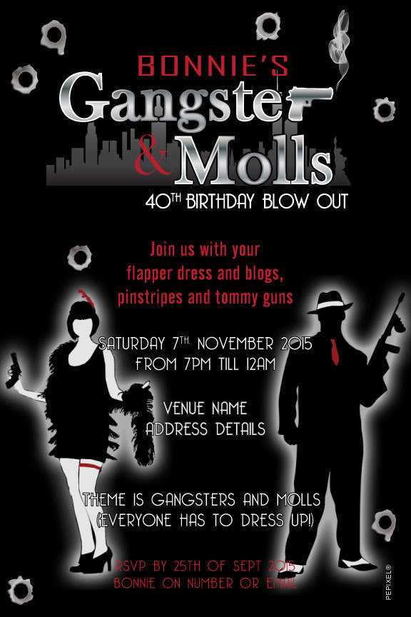 roaring 20's birthday invitation, gangster birthday party invitation,