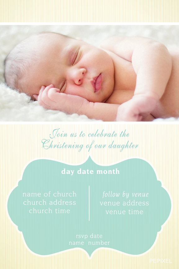 baby christening invitations with photo, yellow and mint baptism invitation with photo,