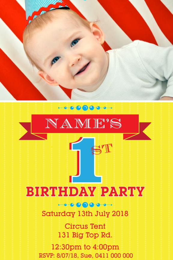 Kids circus birthday invitations, kids photo invitations