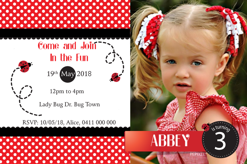 ladybug birthday party invitation with photo,
