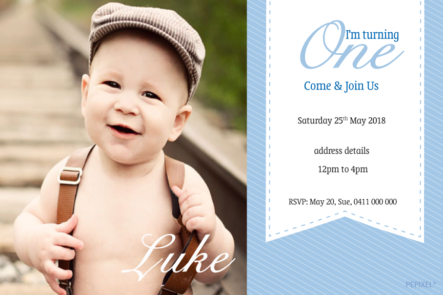 1st Birthday blue boys party Invitations,  photo invitations,