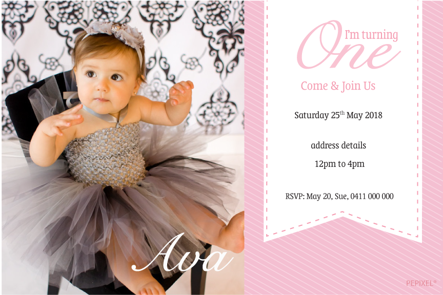 1st birthday pink girls party invitations,  photo invitations,