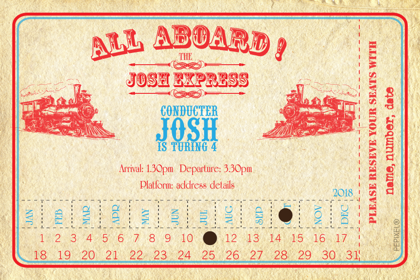Vintage Train ticket birthday party invitation,