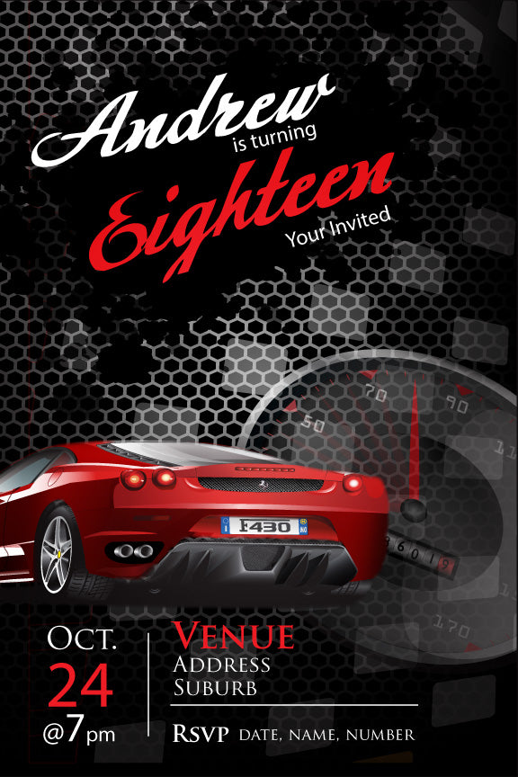 18th birthday party invitations for men, Ferrari car, red sports car