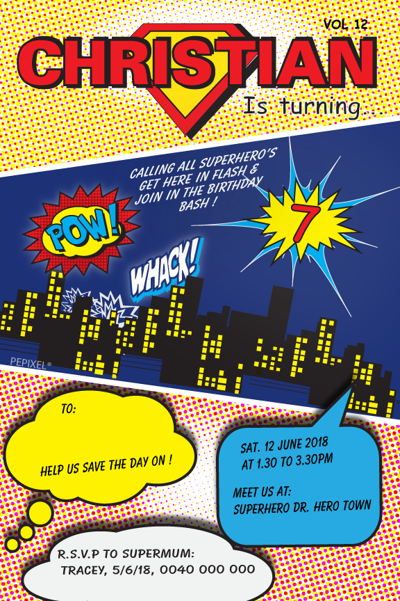 Comic book birthday party invitation,