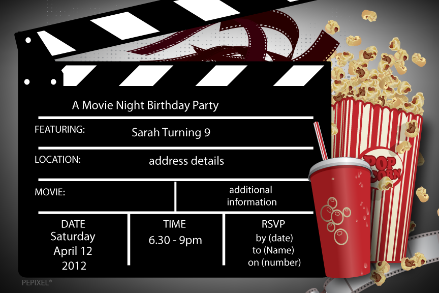 clapper board Movie birthday party invitation,