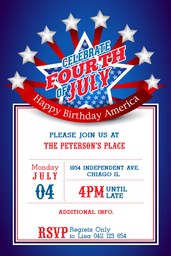 4th Of July Birthday Party Invitations Patriotic Invite