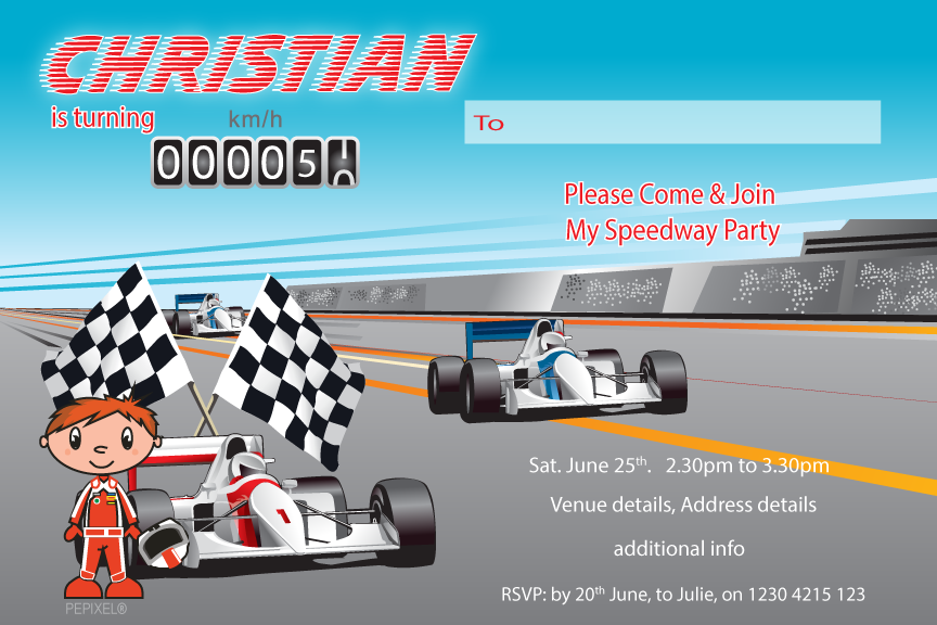 Racing car birthday invitation,