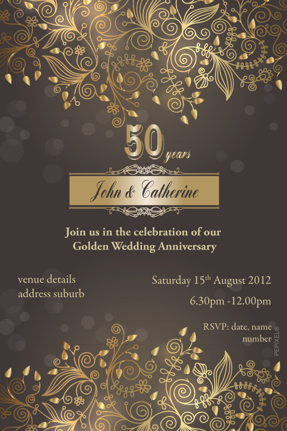 Gold 50th anniversary invitations, gold 50th wedding anniversary invitation,