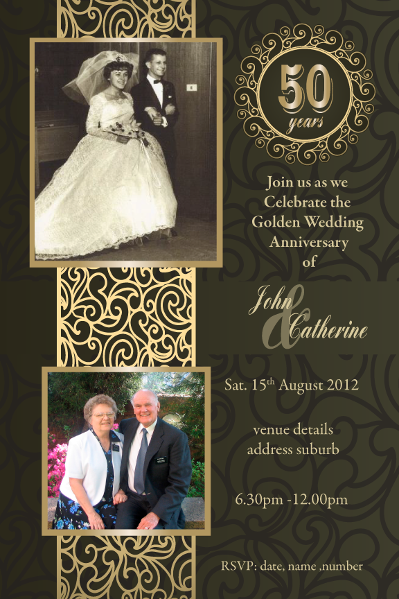 50th wedding anniversary with photos invitations, Gold 50th wedding anniversary invitation,