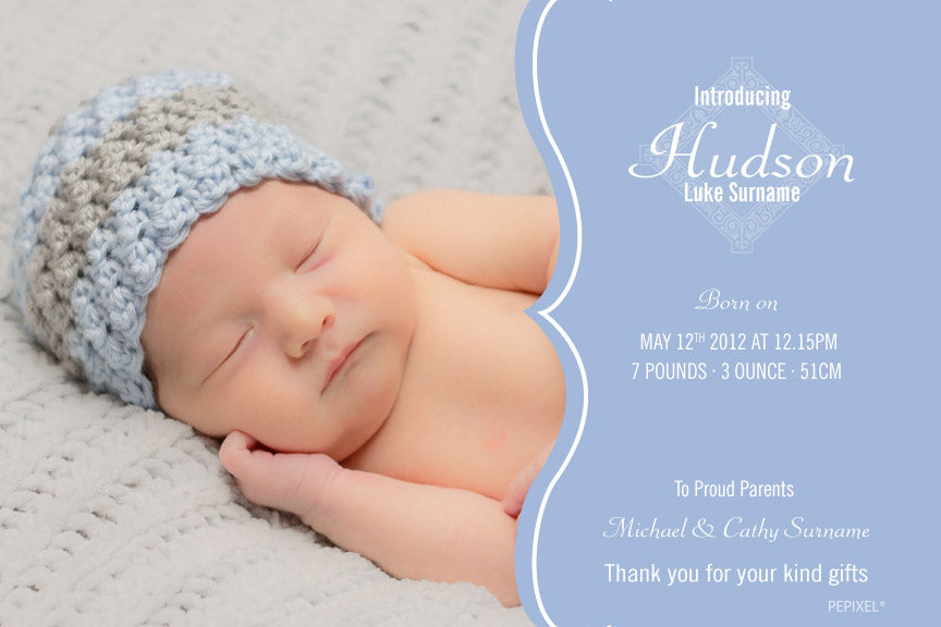 blue with photo baby announcement, blue baby announcement cards, blue birth announcement card,