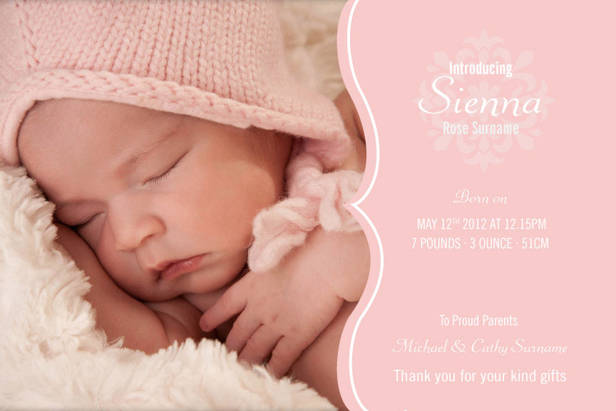 pink with photo baby announcement card, pink baby announcement card, pink birth announcement card