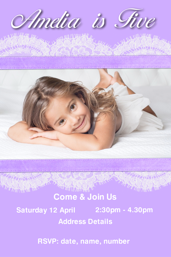 Purple and lace with photo birthday invitation for girls,