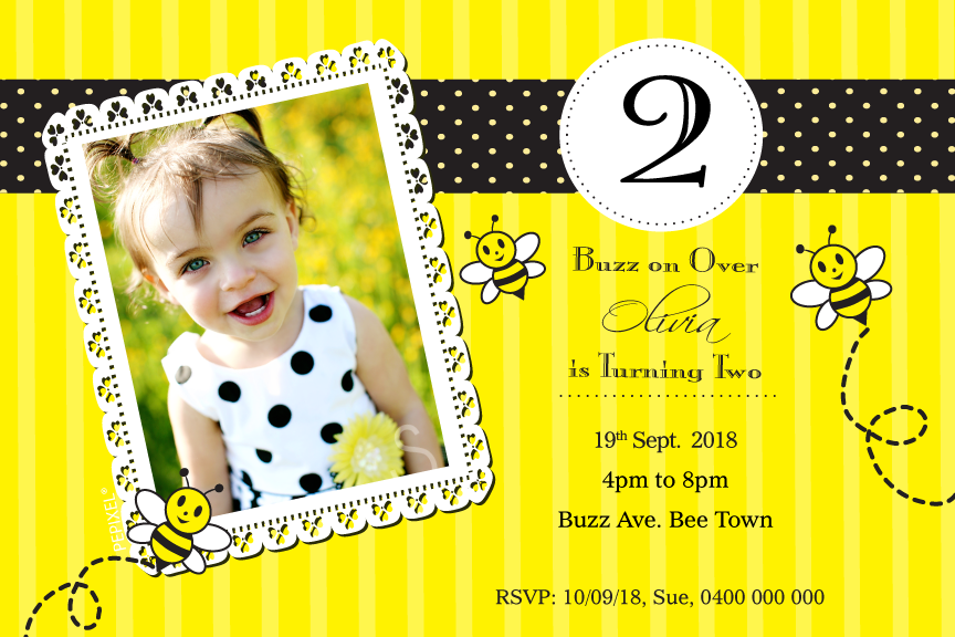 Bumble bee birthday invitation with photo,