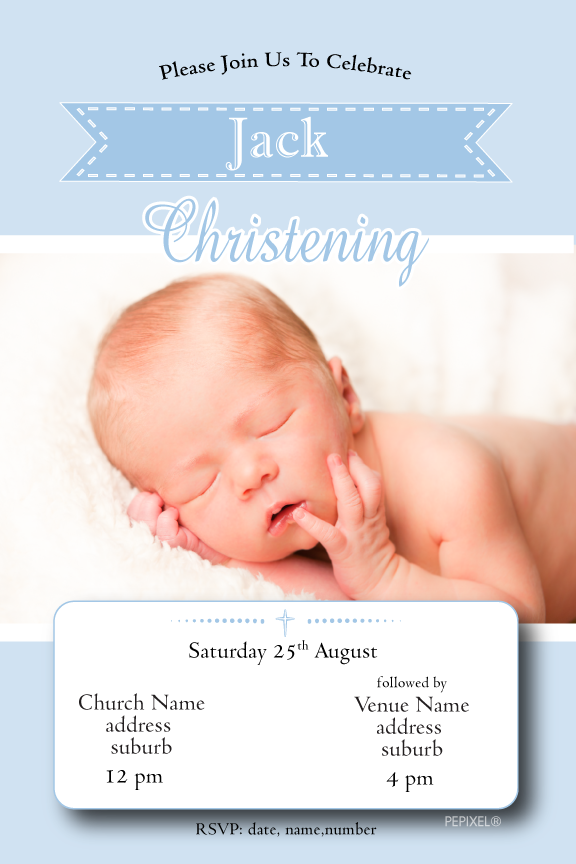 blue christening invitation with photo,blue baptism invitation with photo,