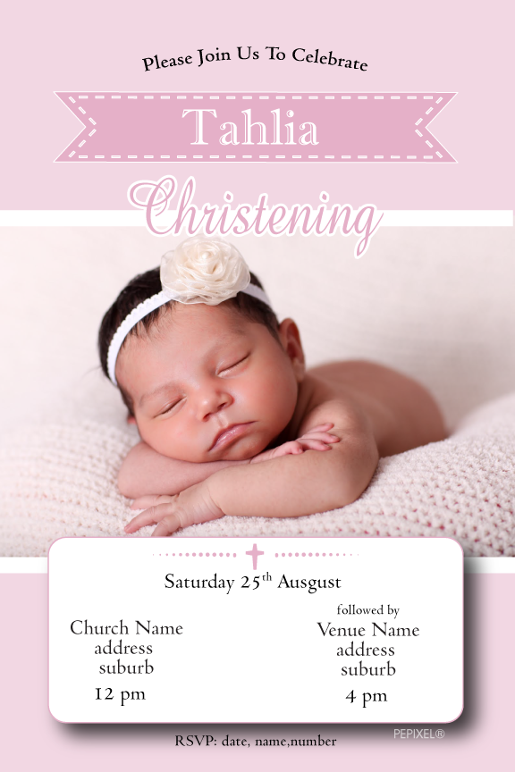 pink christening invitation with photo, pink baptism invitation with photo,