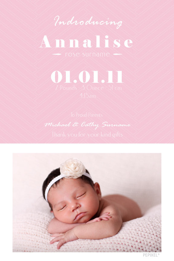 Pink baby announcement card, pink with photo baby announcement card,