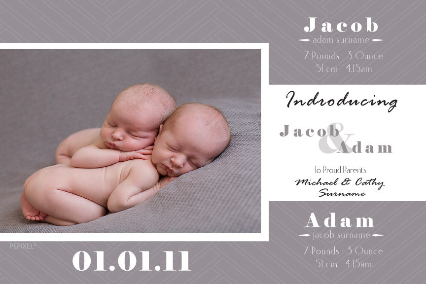 baby announcement for twins, baby announcement cards for boy twins, photo baby announcement card, birth announcement cards for twins,